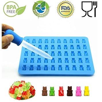 bessmate 5 x 10 Cavidad de silicona Bears moldes con un bono fácil de rellenar Dropper