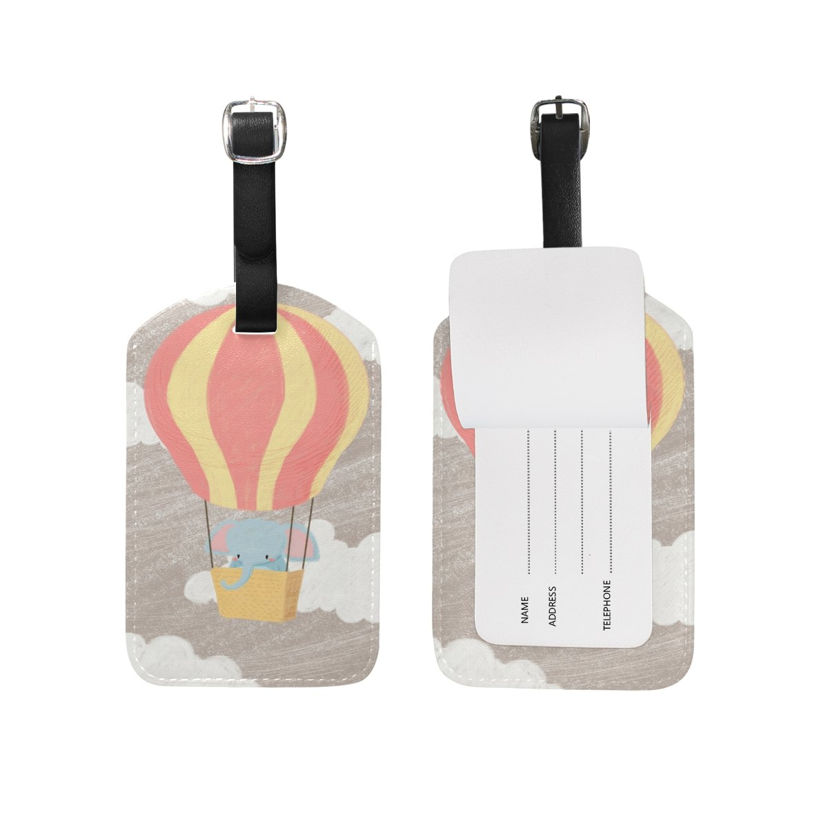 1Pcs Saobao Travel Luggage Tag Elephant With Hot Air Balloon PU Leather Baggage Suitcase Travel ID Bag Tag
