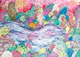 HEART SHAPED LAKE LANDSCAPE WITH ALL THE COLORS PRINT PRINTED ON PREMIUM 100% RAG (COTTON) WHITE 140LLB ARCHIVAL PAPER