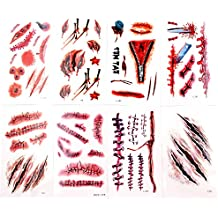 Body Scar Tattoo Temporary Stickers for Cos Play(8 Sheets -- Over 60 Wound Tattoos Total)-By KepooMan