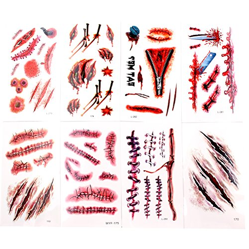 Zombie Make Up For Women (Body Scar Tattoo Temporary Stickers for Cos Play(8 Sheets -- Over 60 Wound Tattoos Total)-By KepooMan)