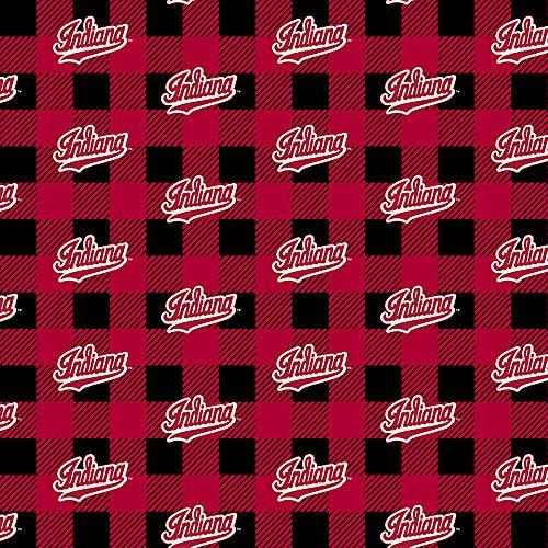 - University of Indiana Fleece Blanket Fabric-Indiana Hoosiers Fabric with Buffalo Plaid Design