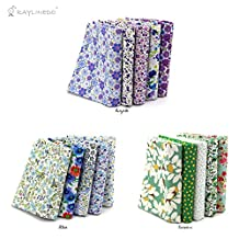 """RayLineDo® 15 Pcs Different Pattern Multi Color 100% Cotton Poplin Fabric Fat Quarter Bundle 18"""" x 22"""" Patchwork Quilting Fabric Blue Green And Purple Series"""