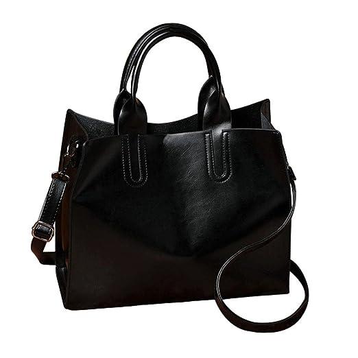 ffec4393c9 Fashion Women Crossbody Bag Shoulder Bag PU Leather Messenger Tote Bag  Hosamtel (Black)