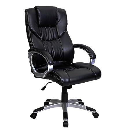 BLACK HIGH BACK EXECUTIVE OFFICE CHAIR LEATHER SWIVEL, RECLINE, ROCKER  COMPUTER DESK FURNITURE