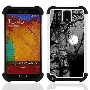 """SAMSUNG Galaxy Note 3 III / N9000 / N9005 - 3 en 1 impreso colorido de Altas Prestaciones PC Funda chaqueta Negro cubierta gel silicona suave (Abedul Negro Blanco Oscuro Profundo Naturaleza"""")"""