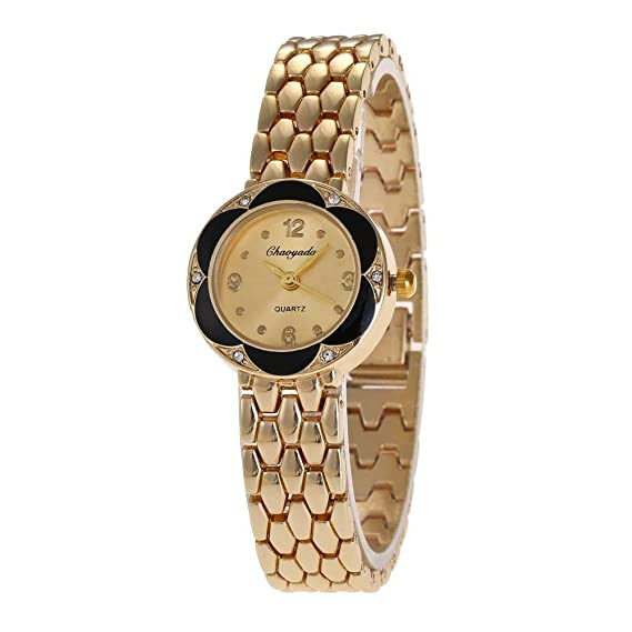 YAZILIND cuarzo reloj de pulsera de cristal flor dial reloj de titanio correa de acero para