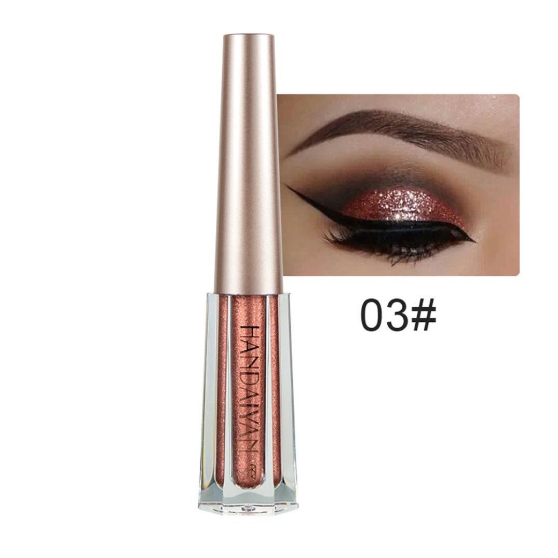 Inverlee Metallic Shiny Smoky Eyes Eyeshadow Waterproof Glitter Eye Shadow Liquid Eyeliner Makeup (C)