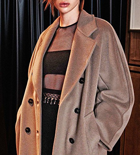 Hego Women's 2016 Fashion Turn-down Collar Double Breasted Long Wool Coat H3223 (XL, Brown)