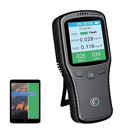 Fanuse Detector de Aire Multifuncional para Interiores TVOC Monitor de Calidad de Gas Medidor Analizador de Sensor de Di/óXido de Carbono CO2