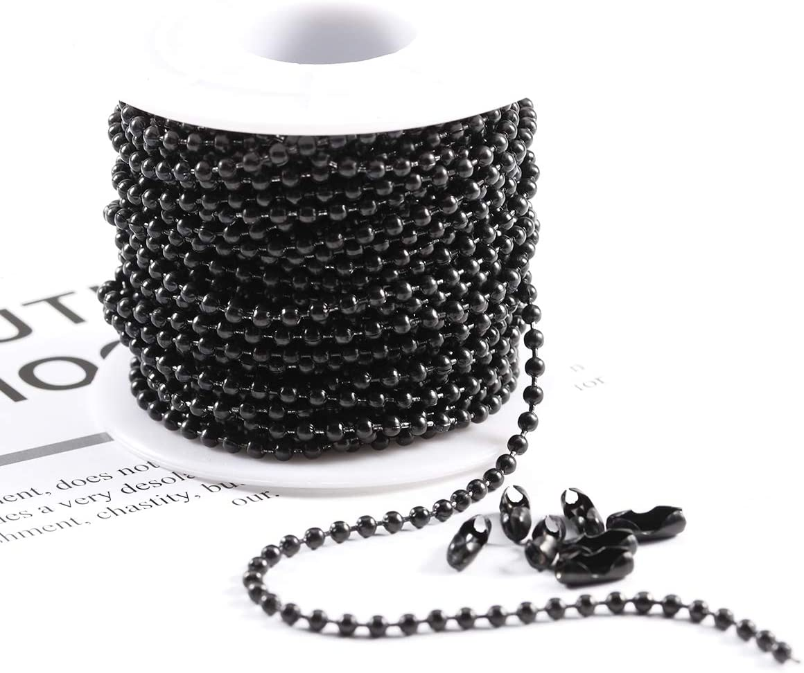 1 Roll 2.4mm Ball Chains + 20 Connectors Tiparts 30FT Black Stainless Steel Ball Bead Chains with 20 Pcs Matching Connectors