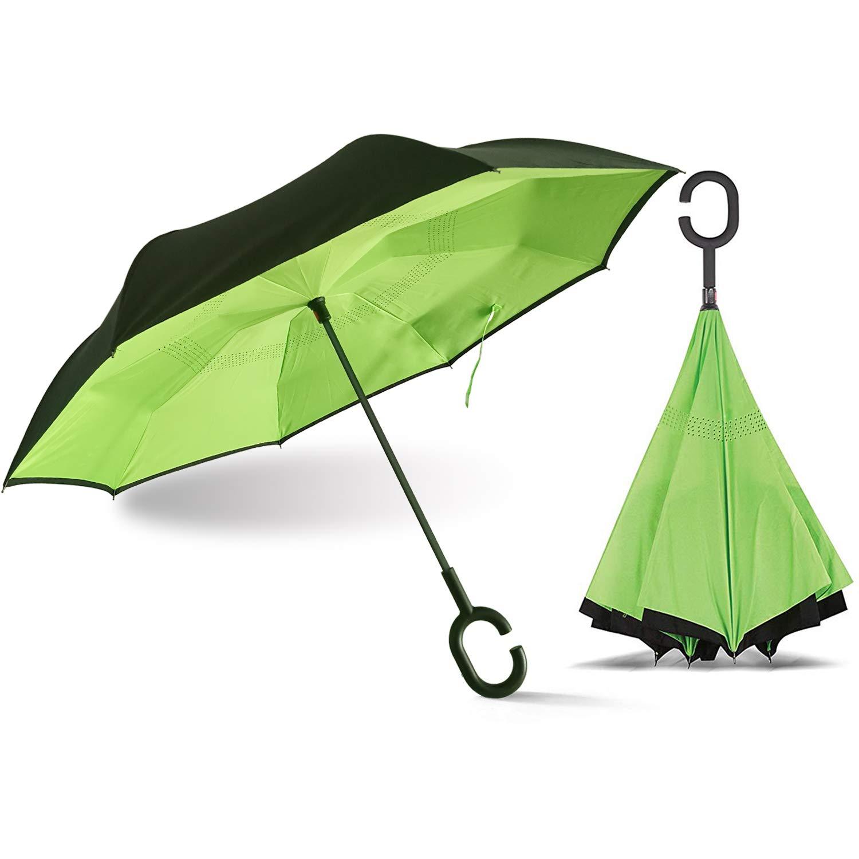 ACEIken 逆さ傘 逆さ傘 逆さ傘 逆さ傘 逆さ傘 レディース UV保護 逆さ傘 C型ハンドル付き 車用  グリーン B07MPN12W8