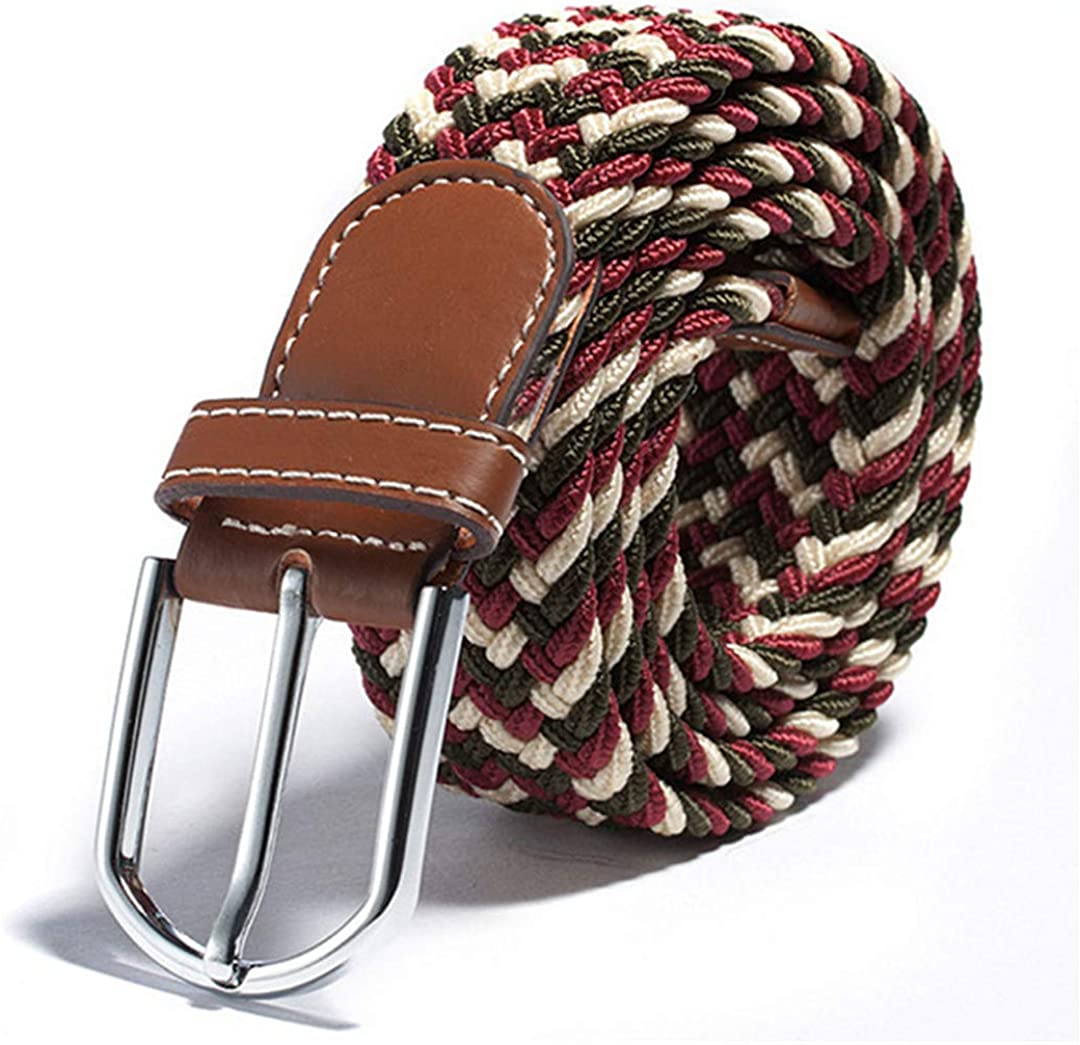 JUIHUGN Unisex Canvas Woven Leather Pin Buckle Elastic Waist Belt Men Women Waistb No 2
