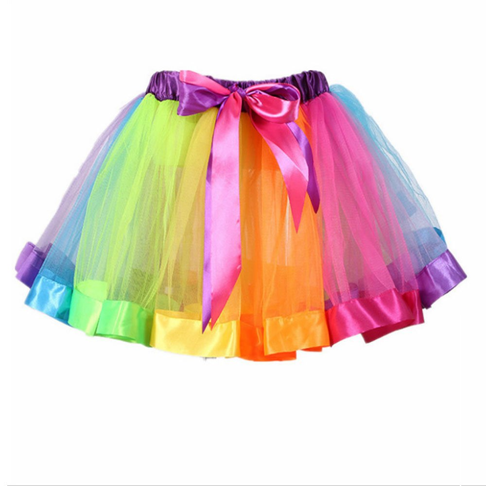 CHARMGIRL Little Girls Rainbow Tutu Skirt, Cute Bowknot Layered Tulle Dance Ballet Party Dress