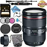 Canon EF 24-105mm f/4L IS II USM Lens 1380C002 + 77mm 3 Piece Filter Kit + 64GB SDXC Card + Lens Pen Cleaner + Fibercloth + Lens Capkeeper + Deluxe 70 Monopod + Deluxe Cleaning Kit Bundle