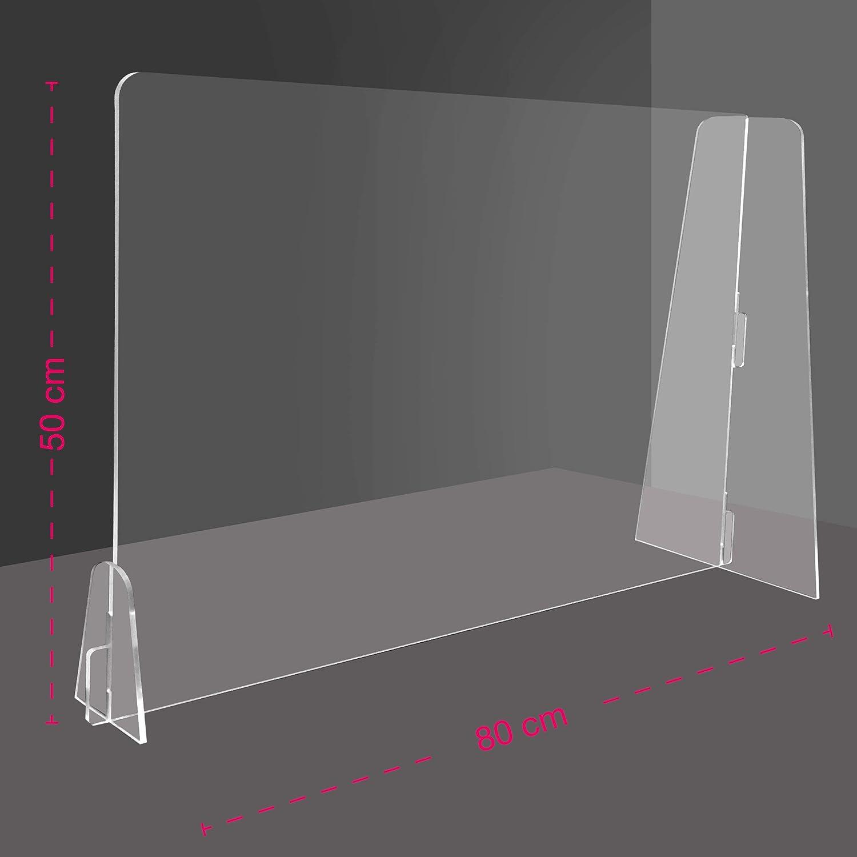 Sistema di Protezione E Schermo 120xx200cm Paravento Divisorio, Barriera di Distanziamento Sociale Protettiva Autoportante HBJSkcn Divisorio da Scrivania in Acrilico Trasparente