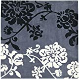 Safavieh Modern Art Collection MDA623A Handmade Elegant Contemporary Floral Dark Grey and Multi Polyester Square Area Rug (5′ Square) For Sale