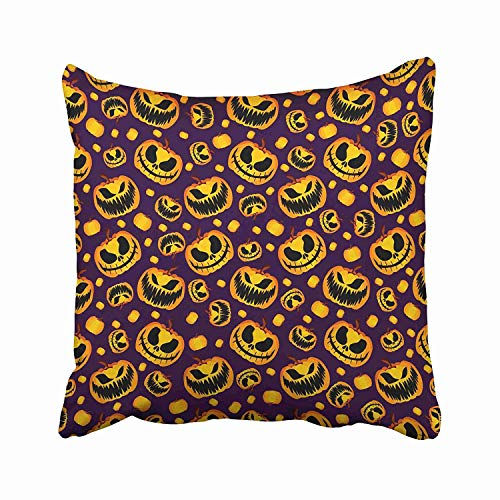 Nextchange Autumn Yellow Orange Festive Scary and Spooky Halloween Pumpkin on Purple Holiday Pattern Cartoon Color Cotton Pillowcase (Two Sides) Pillow Cover Size 26x26 in -