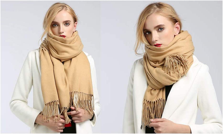 Luxury large super soft cashmere shawl scarf Ochre