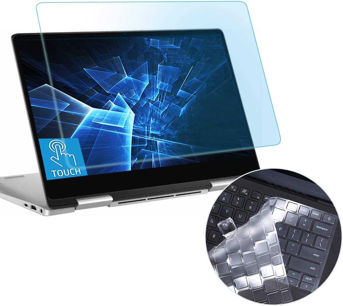"Anti Blue Light Glare Screen Protector Fit Dell Inspiron 13 2-in-1 7391-13.3"" Gift Keyboard Cover Touchscreen Eyes Protection Filter Reduces Eye Strain Help You Sleep Better Anti Fingerprint"