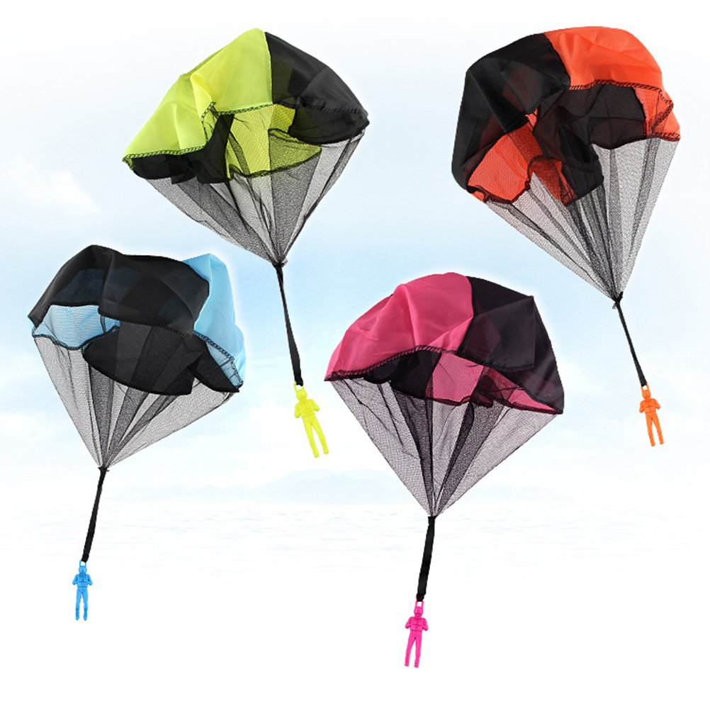 YeahiBaby 4pcs Parachute Toy Tangle Free Throwing Parachute for Kids Childrens Outdoor Sports (Blue, Orange, Yellow and Rosy)