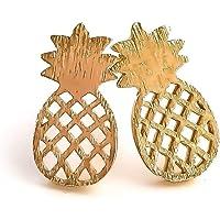 Gold Tone Pineapple Stud Earrings Handmade