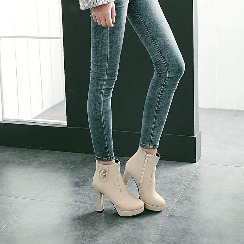 Logobeing Botines Mujer Tacones Zapatos Botas de Mujer Flores Botas con Cremallera Lateral Botines Cortos para Mujer: Amazon.es: Zapatos y complementos