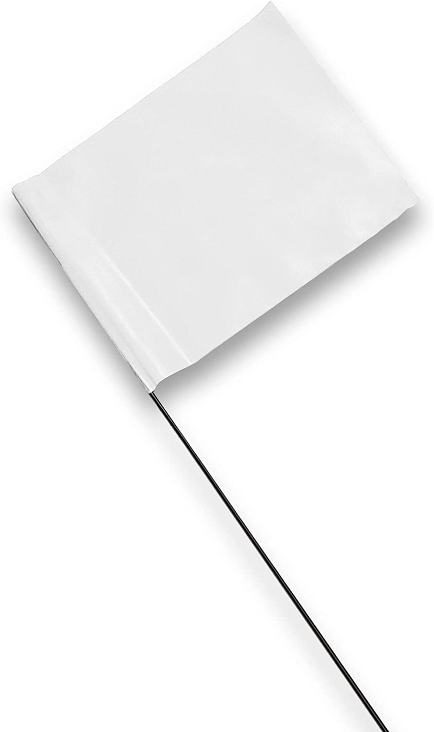 Marking Flags - 4 x 5-Inch Flag on 15-Inch Steel Wire - White, 100 Pack - Marker Flags for Irrigation, Sprinkler Flags, Lawn Flags, Yard Flags, Garden Flags, Dog Training, Invisible Fence