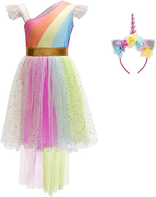Girl Unicorn Costume Princess Tutu Outfit for Birthday Party Cosplay Fancy Dress