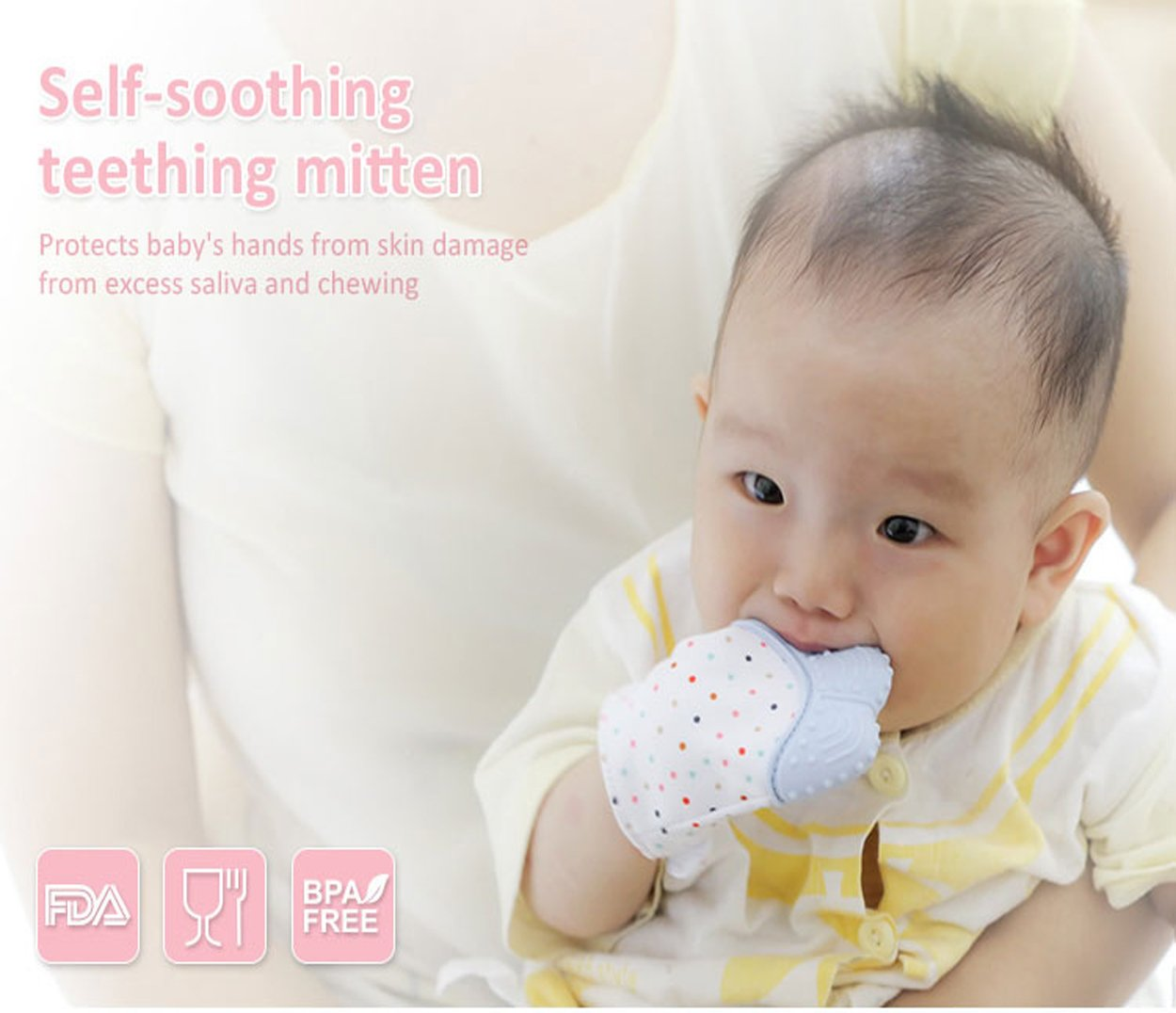 SOYAR Colorful Baby Teething Mittens,Baby Teether Soothing Pain Relief Age 3-12 Months Protects Babys Hands from Salvia /& Chewing Secure Adjustable Strap.-Quarlz Pink