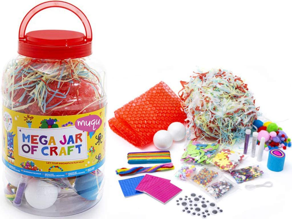 Arts and Crafts Kit For Kids Craft Supplies For Children Aged 3 Years+ 100s of Pieces MUQU/® Mega Craft Jar