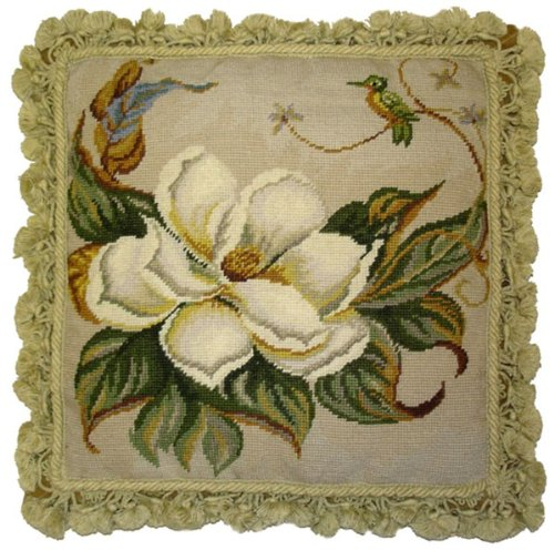 (Deluxe Pillows Study of Magnolia - 18 x 18 in. needlepoint pillow )
