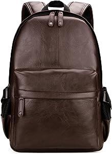 Kenox Vintage PU Leather Backpack School College Bookbag Laptop Computer Backpack - Brown