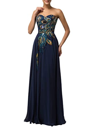 Azbro Womens Elegant Peacock Embroidery Bandeau Prom Dress, Navy XXXL