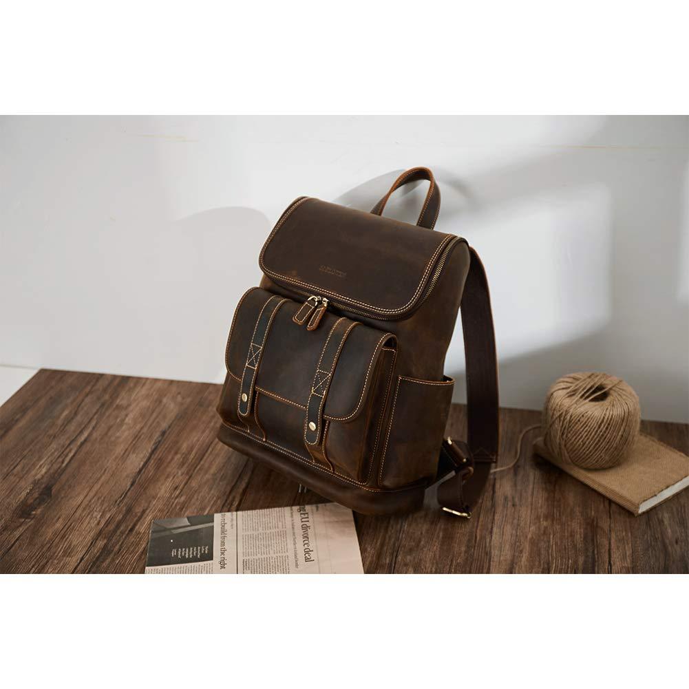 BOSTANTEN Leather Backpack 15.6 inch Laptop Backpack Vintage Travel Office Bag Large Capacity School Shoulder Bag by BOSTANTEN (Image #4)