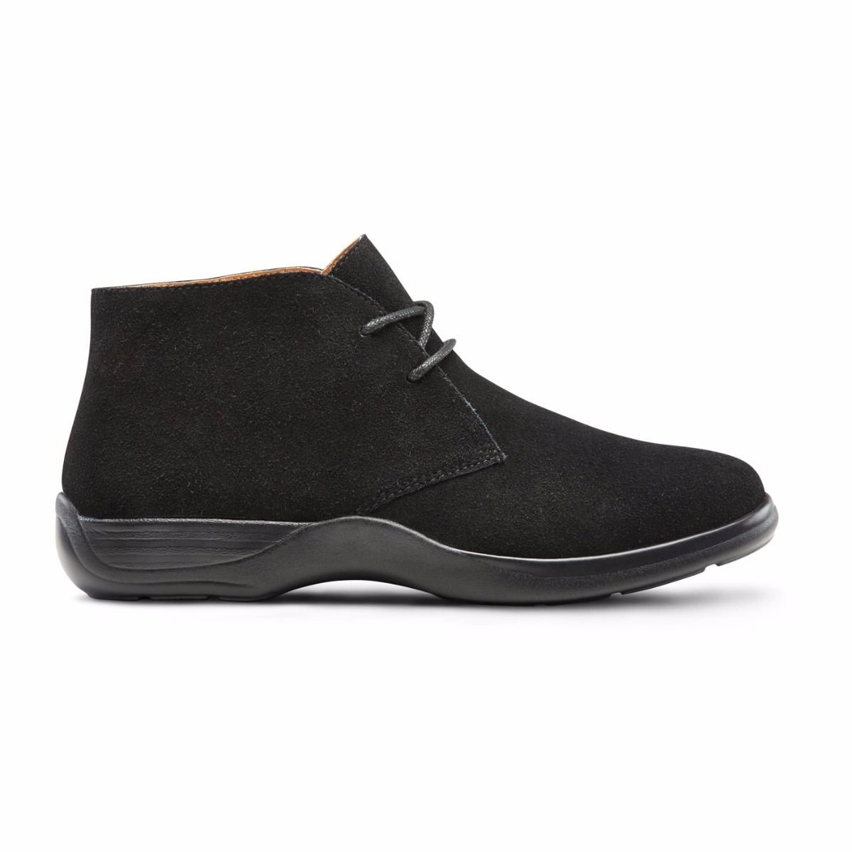 Dr. Comfort Women's Cara Casual Suede Leather Bootie Chukka Boot Black B076VVK3KT 4 WIDE (C/D) BLACK|Black