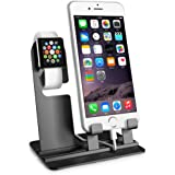 iPhone Apple Watch Charger Holder, Egmy Popular Aluminum Charging Dock Station Charger Holder Stand For iPhone Apple Watch (Black)