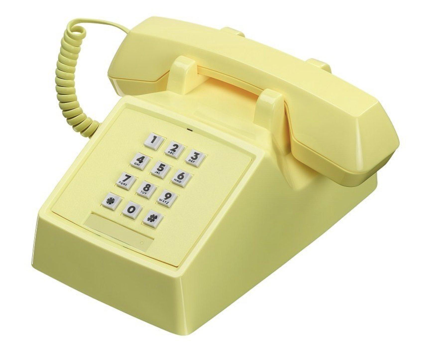 Wild Wood 2500 Classic Retro Landline Phone, Lemon Sorbet