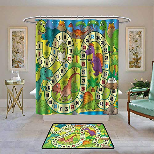 Custom Shower Curtain Board Game,Cute Dinosaurs Jungle for sale  Delivered anywhere in Canada