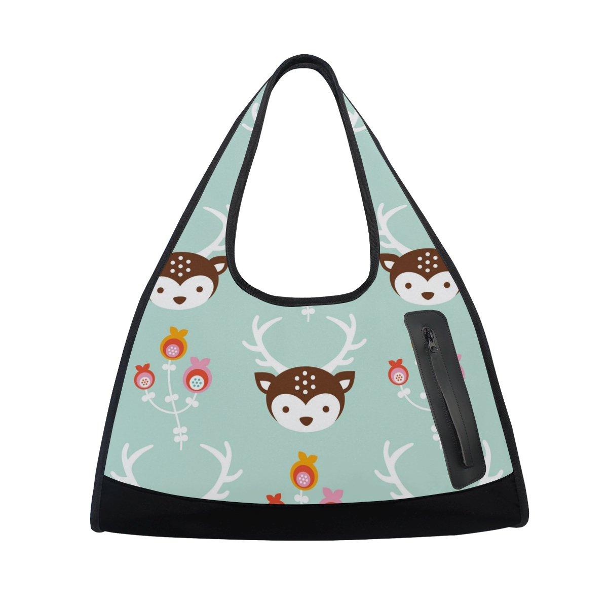 AHOMY Canvas Sports Gym Bag Cartoon Deer Flower Head Travel Shoulder Bag