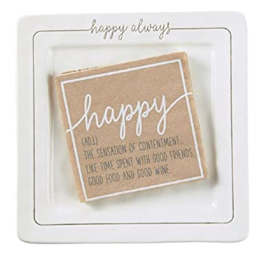Mud Pie 4115021 Happy Always Cheese Serving Plate, One Size, White
