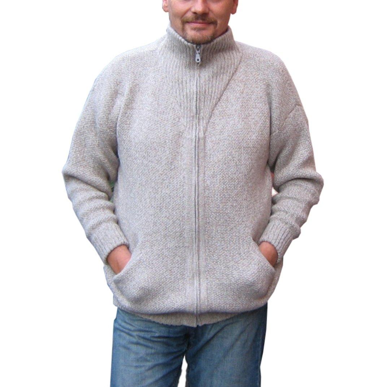 Alpakaandmore Mens Thick Alpaca Wool Cardigan, Grey Sweater (Large)