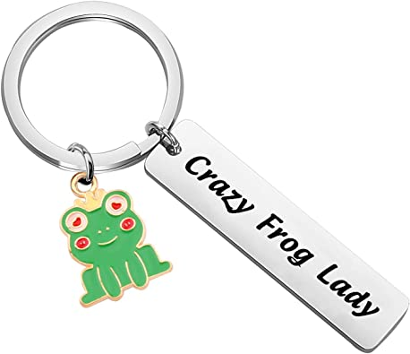 Gzrlyf Frog Keychain Crazy Frog Lady Funny Frog Gifts for Frog Lovers