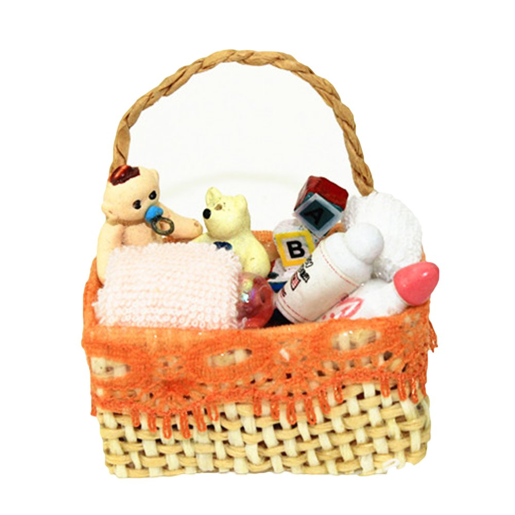 Dollhouse Miniature Filled Basket With Baby Items