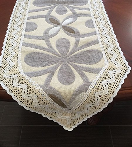 Ofit Chenille Lace Custom Sectional Sofa Cover Furniture Protector or Table Runner and Placemats (10x60, Grey)