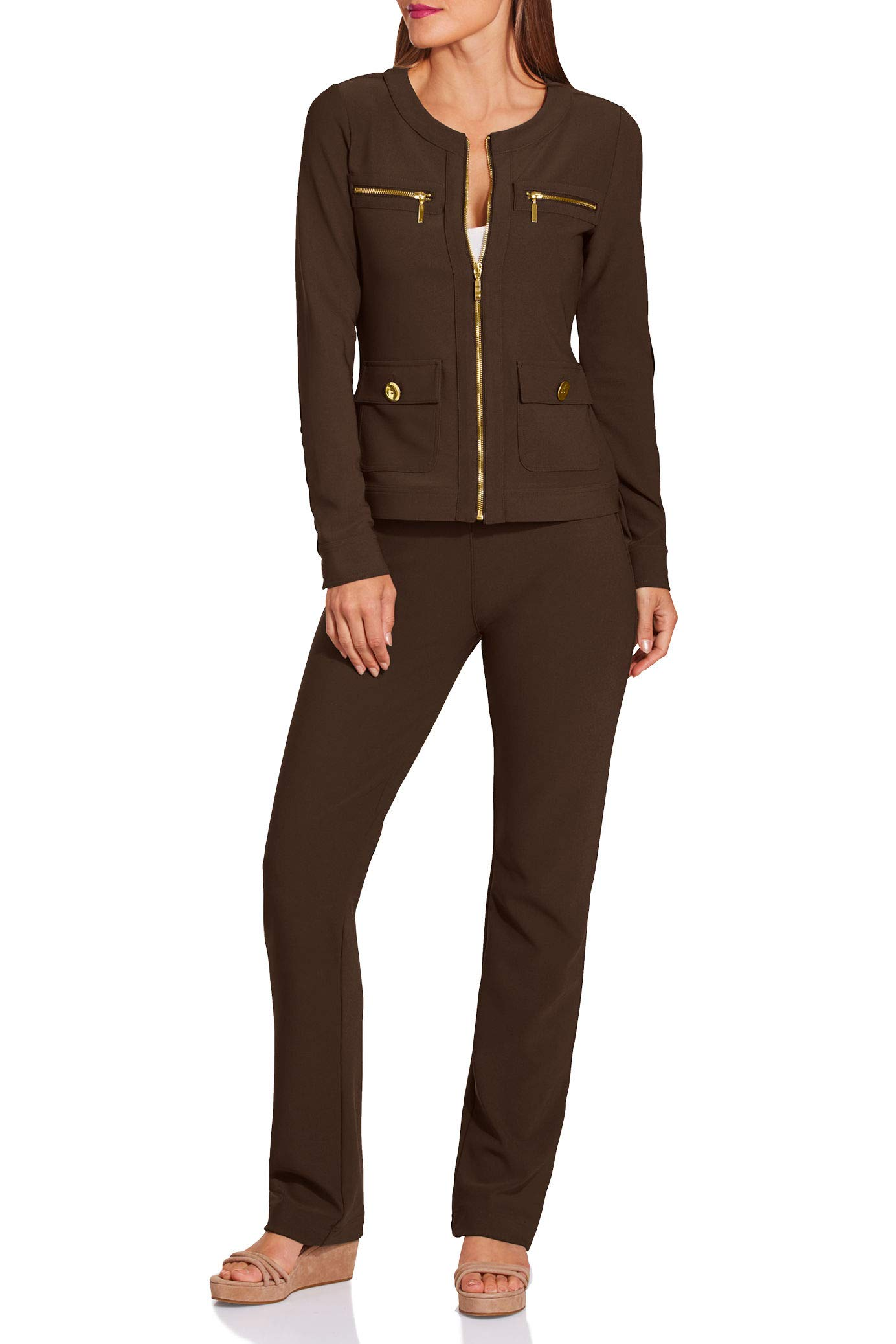 Boston Proper Women's Wrinkle-Resistant Solid Color Chic Two-Piece Knit Set Safari Brown X Large by Boston Proper