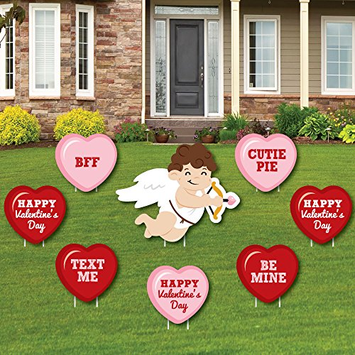 - Conversation Hearts - Yard Sign & Outdoor Lawn Decorations - Valentine's Day Party Yard Signs - Set of 8