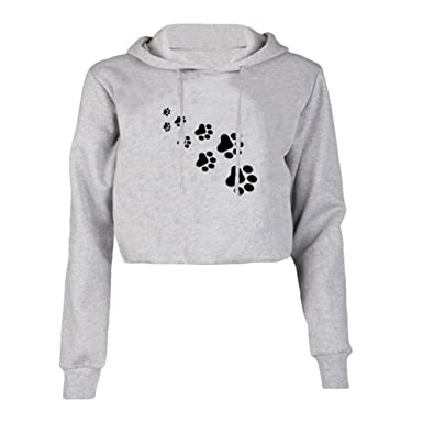 aeddcb099b712 Womens Girls Hoodie Cropped Hooded Hoody Crop Tops Sweatshirt Plain Jumper  Sweat Tops Pullovers (Tag L(UK 10-12)