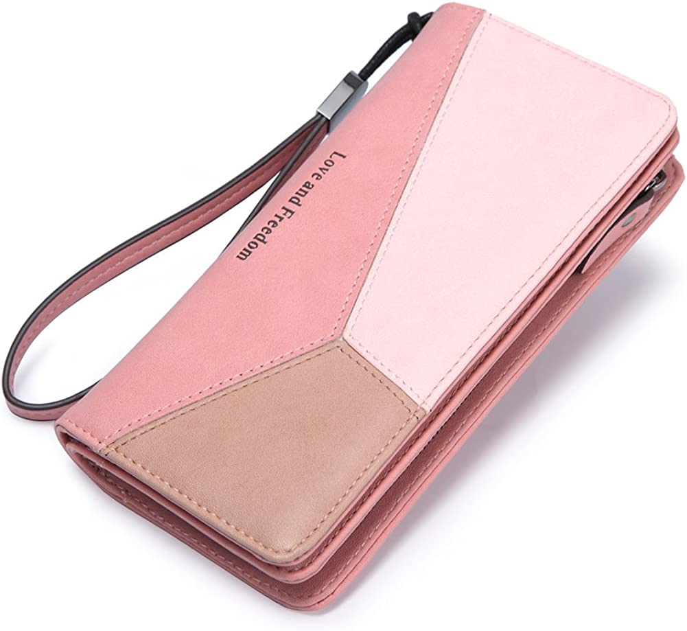 Womens Zip Around Wallet and Phone Clutch,Retro Music Note Print,Travel Purse Leather Clutch Bag Card Holder Organizer Wristlets Wallets