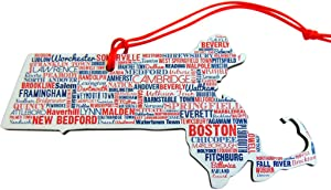 Massachusetts Ornament with City Names Wooden Christmas Tree Decoration, 5 Inch
